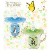 【クロワッサン科羅沙】Peter Rabbit~ 經典比得兔 PI附蓋花圓馬克杯(藍、綠)