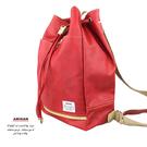 束口皮革後背包 紅色  AMINAH~【am-0214】