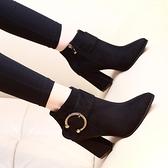 短靴女春秋單靴2019新款韓版冬季高跟鞋百搭粗跟英倫風尖頭馬丁靴