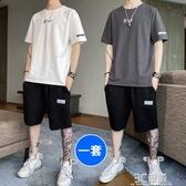 男士短袖t恤2020新款休閒套裝夏季短褲潮流寬鬆搭配一套帥氣衣服 3C優購