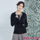 RED HOUSE 蕾赫斯-毛絨絨針織外套(黑色)