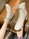 高跟短靴 馬丁靴女短靴2021新款韓版秋冬款英倫風百搭粗跟高跟鞋方頭靴子女 618狂歡