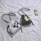 包包 韓國ins可愛小包包少女帆布小水桶單肩側背包chic學生玩偶抽繩女 全館免運