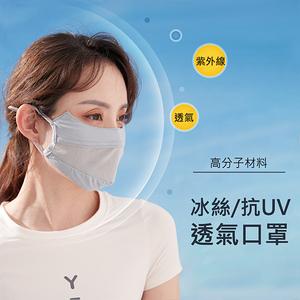 冰絲透氣口罩 護眼角/臉部防曬 抗UV戶外口罩黑色