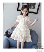 女童連身裙短袖薄款透氣網紗蕾絲裙女孩洋氣素色公主【時尚大衣櫥】
