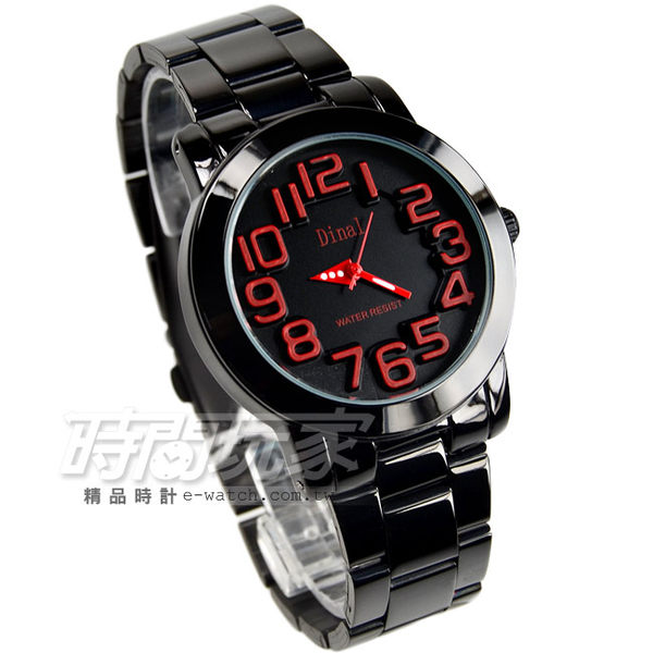 Dinal 時尚數字時刻腕錶 女錶 學生錶 數字錶 紅x黑 IP黑電鍍 D8162IP紅