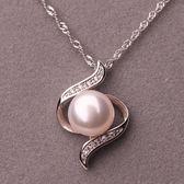 12mm -13mm天然淡水珍珠吊墜 925銀項錬飾品 女鎖骨