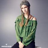 【SHOWCASE】優雅二件式繡花雪紡綁帶長袖上衣(黑/綠)