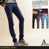 休閒褲 【WX85805】簡約設計 黑皮格拼接窄版休閒長褲/工作褲(6色)