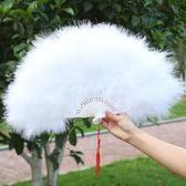 舞蹈扇羽毛扇演出成人兒童純白色古典舞孔雀