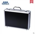 茜菲婭 中號鋁合金邊框工具箱產品展示箱 電子箱 鋁合金箱子T5001(鋁邊框黑色)