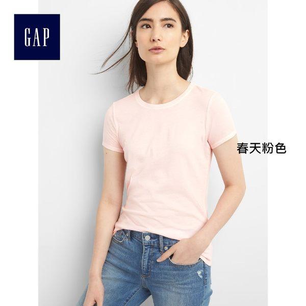 Gap女裝 舒適純棉復古水洗短袖圓領T恤 231912-春天粉色