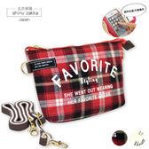 觸控手機袋-&Smart帆布觸控手機小斜背包-紅格子-玄衣美舖