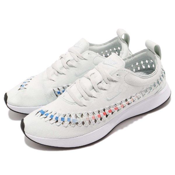 Nike 慢跑鞋 Wmns Dualtone Racer Woven 灰 白 彩虹 側邊編織 運動鞋 女鞋【PUMP306】 AJ8156-002