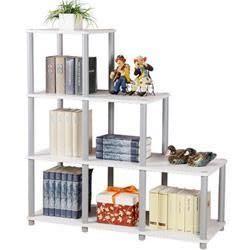《AccessCo》110cm梯型書架/置物架-純白色