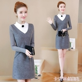 2020新款韓版冬天秋季小個香風毛呢氣質針織打底長袖連身裙子女士 極速出貨