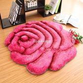 歐式3D玫瑰花婚慶地毯客廳臥室床邊玄關圓形地墊【大小姐韓風館】