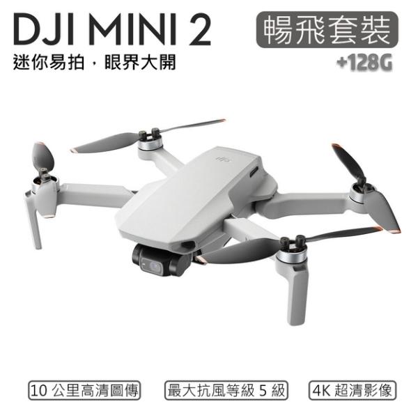 (分期零利率) 3C LiFe +128G記憶卡 DJI Mini 2 暢飛套裝版 摺疊航拍機 4K 超清影像 (公司貨)