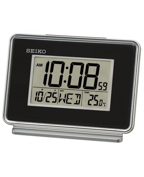 【時間光廊】SEIKO 日本精工 雙鬧鐘設定 電子鐘 鬧鐘 靜音 溫度 桌鍾 黑色 QHL068K