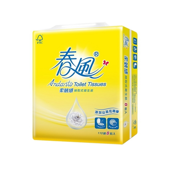 【春風】山茶花柔韌感抽取衛生紙110抽x8包x8串/箱-箱購