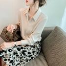 緞面上衣 緞面襯衫女春裝新款氣質職業法式襯衣寬鬆時尚百搭長袖上衣-Ballet朵朵