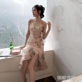 洋裝 歐根紗吊帶粉色碎花連身裙女春季2020荷葉邊顯瘦高腰氣質仙女裙子