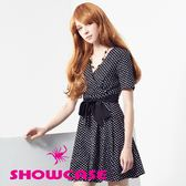 【SHOWCASE】交叉V領水玉點點綁帶洋裝(黑)
