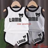 兒童寶寶背心套裝男童小童兩件套嬰兒帥氣無袖薄款衣服【齊心88】