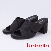 kadia.抓皺交叉雙色粗跟拖鞋(9652-95黑色)