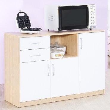 【Hopma】三門二抽廚房櫃/收納櫃-白橡配白