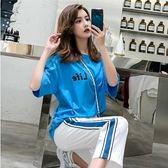VK旗艦店 韓系時尚字母印花t恤休閒長褲套裝短袖褲裝