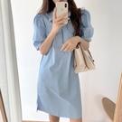 襯衫洋裝 韓系度假風復古翻領泡泡袖雙口袋寬鬆連身裙 花漾小姐【現貨】