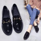 黑色小皮鞋女夏季2018新款學生韓版中跟英倫學院風百搭平底女單鞋   米娜小鋪