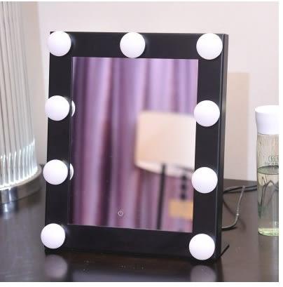 帶燈泡台式便攜化妝鏡 折疊LED燈梳妝鏡子 方形高檔美容鏡