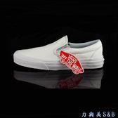 【懶人鞋】VANS男女休閒鞋  熱賣無鞋帶設計 軟皮革材質 舒適耐穿 白色鞋面  【3242】
