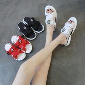 一字拖鞋女夏時尚外穿新款涼拖鞋女韓版百搭厚底網紅平底女鞋 草莓妞妞