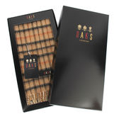 DAKS經典格紋羊毛圍巾禮盒(駝色/黑色)239326-1
