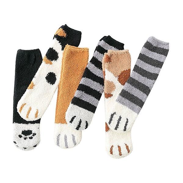 冬季可愛貓爪珊瑚絨中筒襪/地板襪(1雙入) 款式隨機出貨【小三美日】