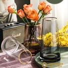 輕奢花瓶擺件客廳插花透明玻璃家居裝飾品北歐描金【小獅子】