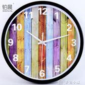 鐘錶時尚掛鐘臥室卡通時鐘圓創意掛錶簡約現代客廳靜音石英鐘igo「多色小屋」