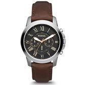 FOSSIL Grant 旗艦三眼計時復刻手錶-黑/咖啡/44mm FS4813IE