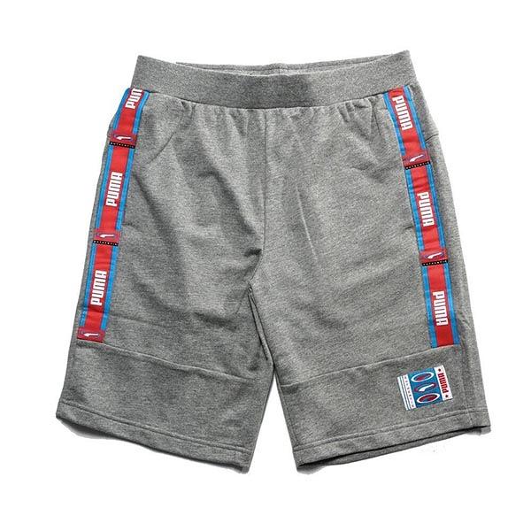 PUMA 灰 藍 紅邊英文LOGO 薄短棉褲 男 (布魯克林) 57952006