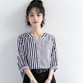短袖襯衫 2021新款不規則條紋短袖襯衫女夏小眾設計感立領襯衣韓版寬鬆上衣 嬡孕哺 免運