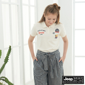 【JEEP】女裝 經典品牌圖騰短袖POLO衫-白色