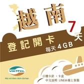 《Viettel越南軍隊》每日4GB 7天高速流量越南原廠卡/3-30天任選/越南網卡