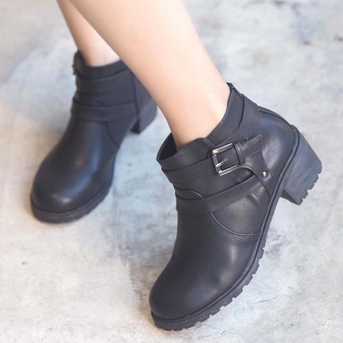 靴子.MIT英倫造型扣環拉鏈低跟短靴.白鳥麗子