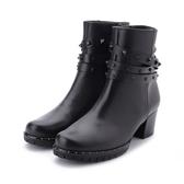 德國GABOR 牛皮鉚釘中跟短靴 黑 96.653.67 女鞋