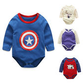 包屁衣 舒適 棉質 薄款 肩扣設計 長袖包屁衣 四款 寶貝童衣