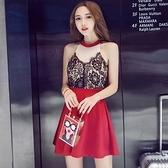 現貨紅色M露肩洋裝時尚蕾絲無袖掛脖修身性感夜店連身裙禮服(現貨)20994