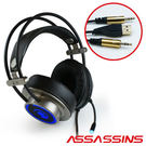 AIBO 黑客 暗殺星 X1 全罩式專業電競耳機麥克風(灰色) 類蛋白耳罩 全耳包覆 環繞音效